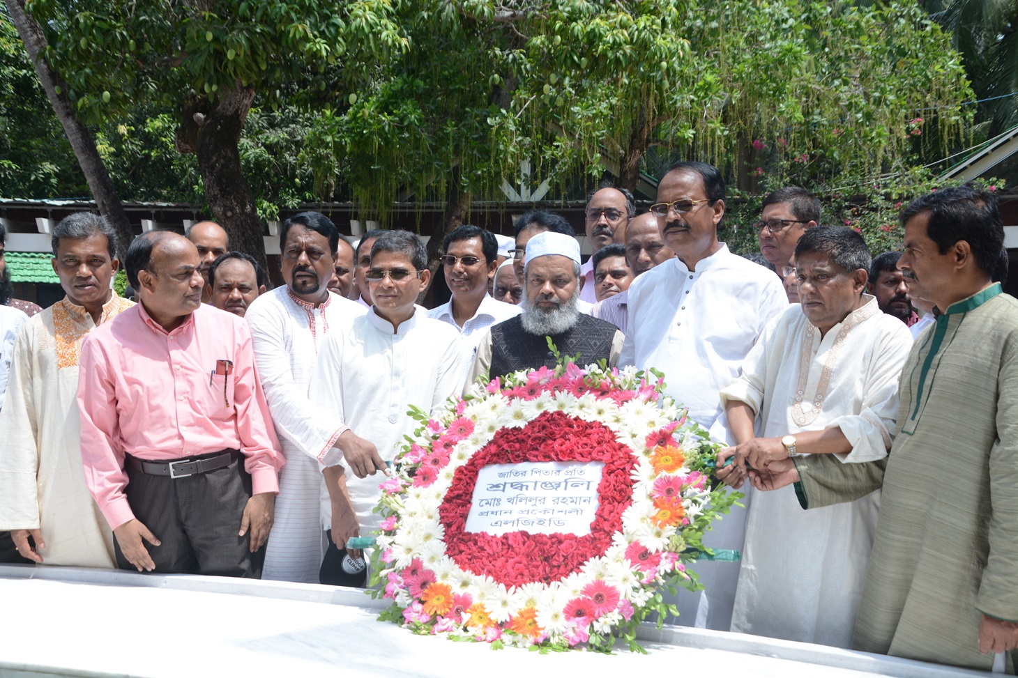 Newly appointed Chief Engineer of LGED Mr. Md. Khalilur Rahman placing floral wreaths at the grave of Father of the Nation Bangabandhu Sheikh Mujibur Rahman at Tungipara of Gopalganj on 10/05/2019.
