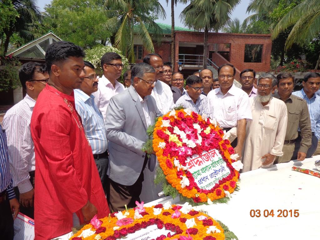 LGED Chief Engineer Shyama Prosad Adhikari paying homage at the grave of theFather of the Nation Bangabandhu Sheikh Mijibur Rahman in Gopalganj, Tongipara on Friday, 3 April 2015.