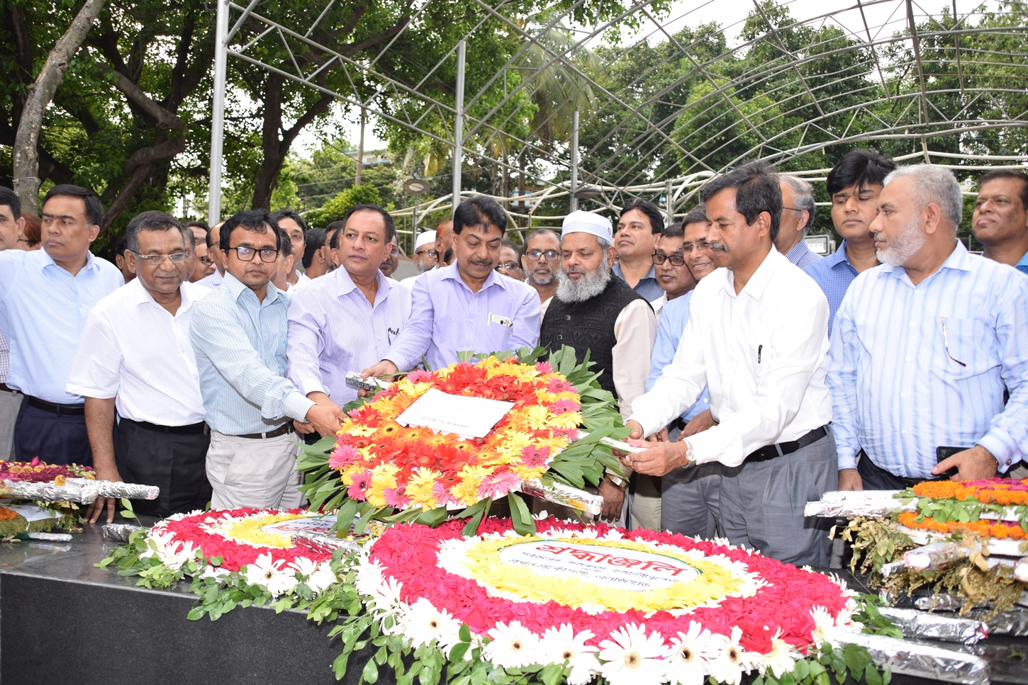 Newly appointed Chief Engineer of LGED Mr. Md. Khalilur Rahman placing floral wreaths at the portrait of Bangabandhu Sheikh Mujibur Rahman at Dhanmondi Road-32 on 9 May, 2019.