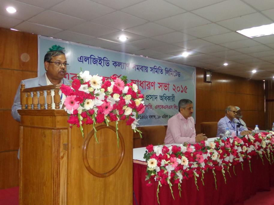 Mr. Shyama Prosad Adhikari, Chief Engineer of LGED is addressing at 11th Annual General Meeting of LGED Kallayan Samobay Samiti (LKSS) Ltd. On 18 April 2015 at LGED HQ Dhaka.
